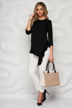 StarShinerS black women`s blouse asymmetrical from elastic fabric with ruffle details elegant flared with 3/4 sleeves