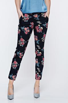Pantaloni Top Secret albastri-inchis office conici cu talie medie din bumbac