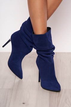 Blue natural leather boots with high heels