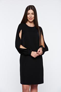 Rochie PrettyGirl neagra eleganta cu croi larg captusita pe interior cu maneci decupate