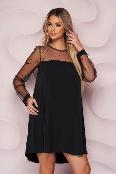 Rochie StarShinerS neagra eleganta cu croi larg din voal si tul cu aplicatii cu perle