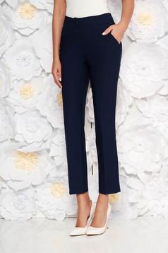 Pantaloni Artista albastru-inchis office cu un croi drept cu talie medie din stofa usor elastica cu buzunare