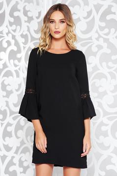 Rochie StarShinerS neagra eleganta cu croi larg din stofa neelastica captusita pe interior
