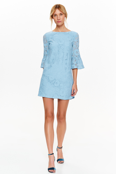 Rochie Top Secret albastra-deschis eleganta cu croi in A din dantela captusita pe interior cu maneci clopot