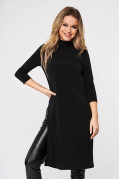 StarShinerS black with tented cut casual long women`s blouse from elastic fabric