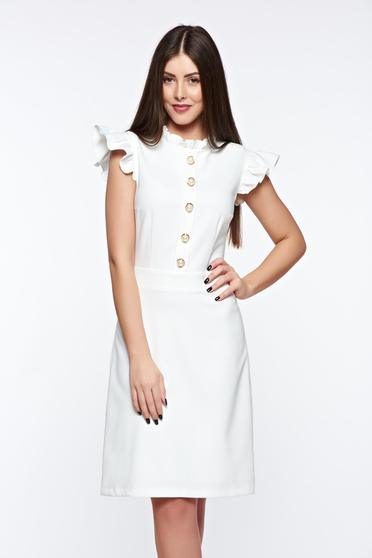 Rochie LaDonna alba eleganta din material elastic si fin captusita pe interior