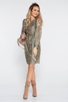 StarShinerS khaki dress daily accessorized with tied waistband with inside lining