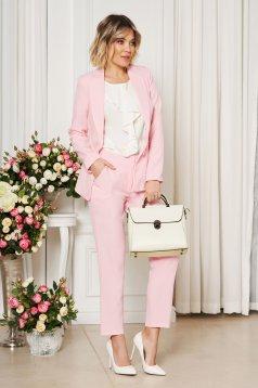 Pantaloni Artista rosa office cu un croi drept cu talie medie din stofa usor elastica cu buzunare