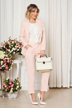 Pantaloni StarShinerS roz deschis office cu un croi drept din stofa usor elastica cu talie medie si buzunare