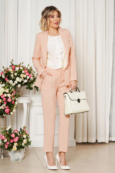 Pantaloni StarShinerS crem office cu un croi drept din stofa usor elastica cu talie medie si buzunare