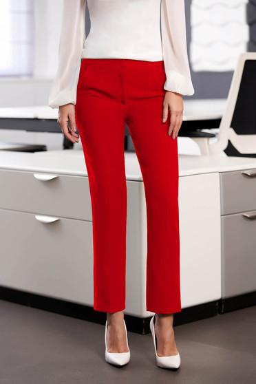 Pantaloni StarShinerS rosii office cu un croi drept din stofa usor elastica cu talie medie si buzunare