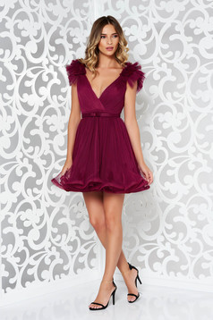 Ana Radu purple luxurious cloche dress from tulle with inside lining with deep cleavage