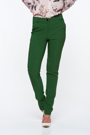 Pantaloni PrettyGirl verzi eleganti conici cu talie medie din material usor elastic cu buzunare