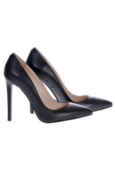 Pantofi stiletto negri din piele naturala cu toc inalt cu varful usor ascutit