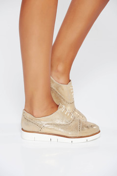 Pantofi aurii casual din piele naturala cu talpa joasa si cu siret