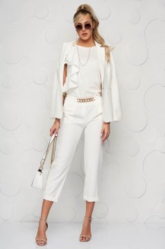 StarShinerS white jacket with inside lining office from non elastic fabric arched cut