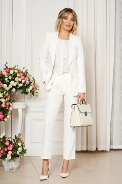 Pantaloni Artista albi office cu un croi drept cu talie medie din stofa usor elastica cu buzunare