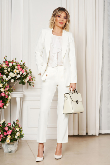 Pantaloni StarShinerS albi office cu un croi drept din stofa usor elastica cu talie medie si buzunare