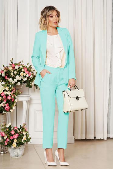 Pantaloni StarShinerS mint office cu un croi drept din stofa usor elastica cu talie medie si buzunare