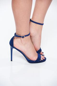 Sandale albastre elegante din piele naturala cu toc inalt de 11 cm