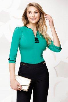 Camasa dama Fofy verde office din bumbac elastic cu insertii de broderie