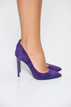 Pantofi mov elegant din piele naturala cu toc inalt si varful ascutit