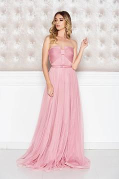Rochie Ana Radu rosa de lux tip corset din tul captusita pe interior