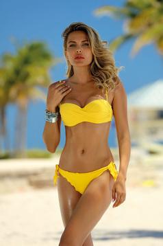 Costum de baie galben cu slip brazilian cu slip ajustabil cu sutien balconet bretele detasabile cu bretele ajustabile