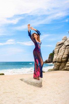 Rochie Cosita Linda albastra-inchis de plaja cu imprimeu floral