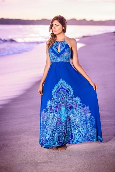 Rochie Cosita Linda albastra de plaja din material vaporos cu elastic in talie