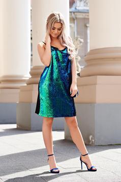Rochie StarShinerS verde de party cu croi larg cu paiete