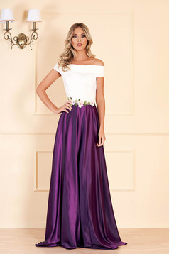 Artista purple dress with embroidery details from satin fabric texture occasional cloche