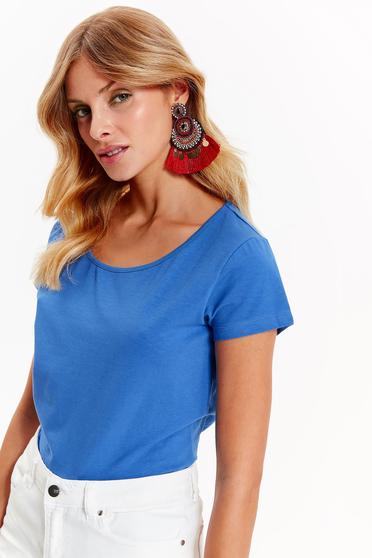 Tricou Top Secret albastru casual cu croi larg din bumbac usor elastic