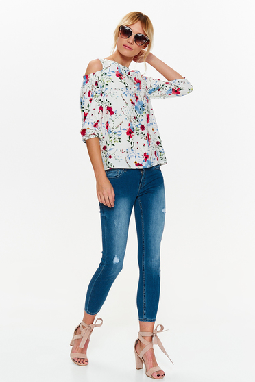 Bluza dama Top Secret alba casual cu croi larg din material vaporos cu umeri decupati