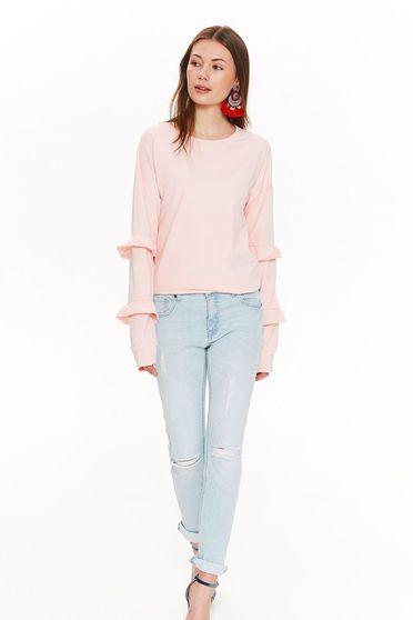 Bluza dama Top Secret rosa casual cu croi larg din bumbac cu volanase la maneca