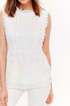 Bluza dama Top Secret alba eleganta din dantela captusita pe interior fara maneci