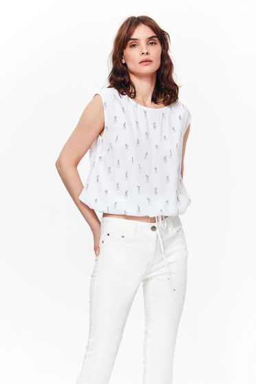Bluza dama Top Secret alba casual cu croi larg din material vaporos usor transparent accesorizata cu snur