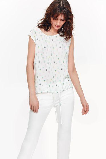 Bluza dama Top Secret alba casual cu croi larg din material vaporos neelastic accesorizata cu snur