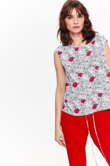 Bluza dama Top Secret alba casual cu croi larg din material vaporos accesorizata cu snur