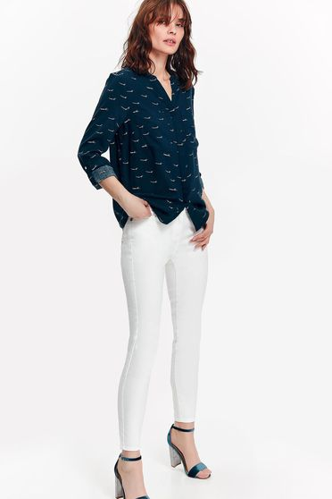 Camasa dama Top Secret albastra-inchis office cu croi larg din material vaporos cu print