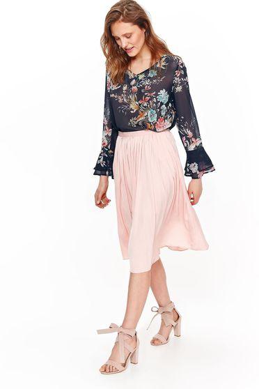 Bluza dama Top Secret neagra eleganta cu croi larg din material vaporos si transparent cu imprimeuri florale