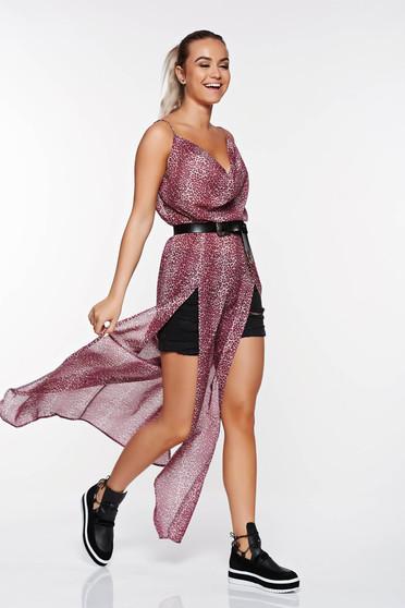 Rochie SunShine mov de zi cu spatele decupat din material vaporos si transparent cu elastic in talie