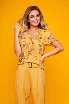 Top Secret yellow women`s blouse elegant with easy cut transparent chiffon fabric with v-neckline