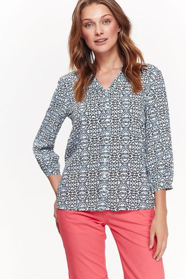 Bluza dama Top Secret alba casual cu croi larg din material vaporos cu maneci trei-sferturi