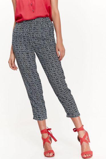 Pantaloni Top Secret albi casual cu elastic in talie din material vaporos cu buzunare