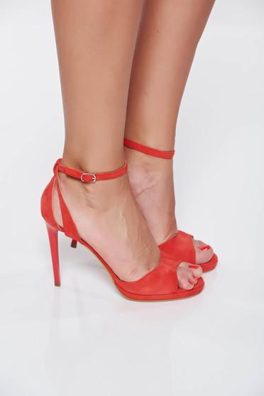 Sandale corai elegante din piele naturala cu toc inalt si barete subtiri