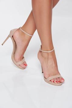Sandale crem elegante din piele naturala cu toc inalt cu barete subtiri