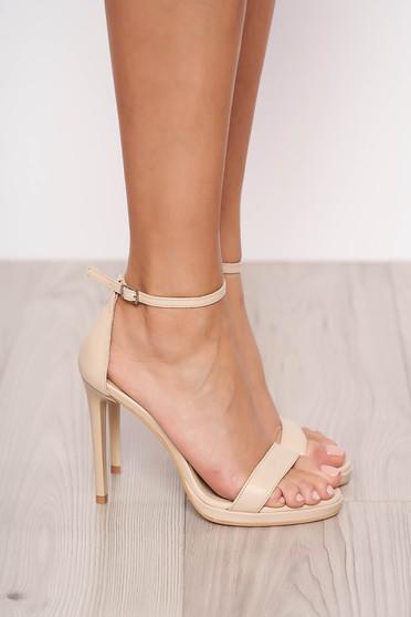 Sandale crem elegante din piele naturala cu toc inalt de 11 cm