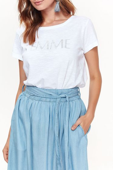 Bluza dama Top Secret alba casual cu croi larg din material moale cu print