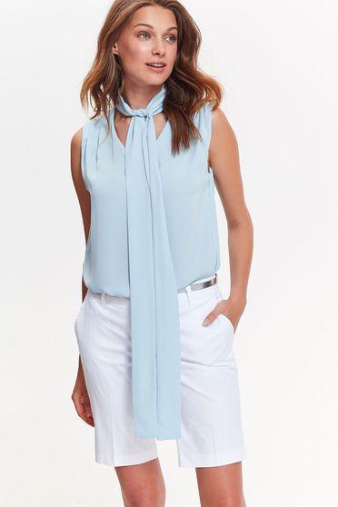 Bluza dama Top Secret albastra-deschis eleganta cu croi larg din material vaporos si transparent fara maneci